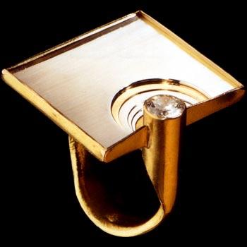 anello, oro, acciaio, diamante